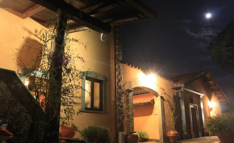 Night view Casale Certosa hotel restaurant Rome